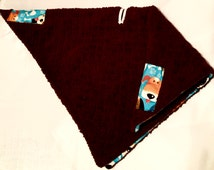 Car Seat Poncho 4 Kozy Kids(TM), double sided, reversible, opt to add detachable hood & inside batting, safe, warm-Blue and Brown Dogs