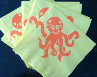 Octopus Paper Cocktail/ Luncheon/ Dinner Napkins- Yellow and Orange