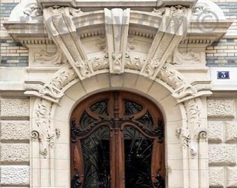Paris Print, Door Photo, Brown, Beige, Paris Door, Art Nouveau Door, Brown Door, Paris Photography