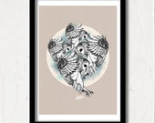 Graphic Owl Print, Limited Edition Large Poster