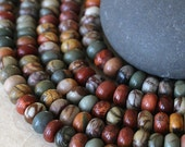 8x5mm Rondelle - Picasso Jasper 5x8mm Rondelle Beads - Jewelry Making Supply - Half or Full Strand