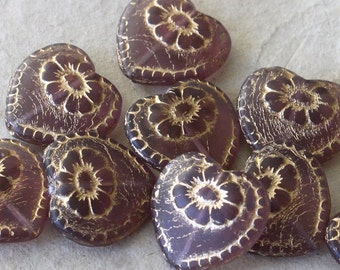 Czech Glass Beads With Gold Decor - Victorian Glass Heart Beads - Valentines Day Heart Bead - Jewelry  Making Supply 17mm (4 or 10) Amethyst