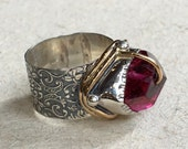 OOAK ring, Pink fuchsia quartz ring, organic design ring, boho ring, hippie ring, cocktail ring, silver gold ring - One dance R2363