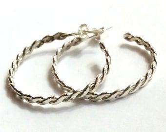 Sterling silver earrings,  braided earrings, silver hoop earrings, oxidized earrings, large hoops, boho hoops, hippie hoops - Twist E8031