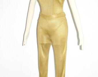 Vintage AZZEDINE ALAIA Gold Knit 3 Piece Jumpsuit Jacket Leotard