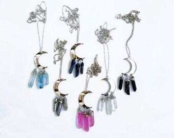 Silver Moon Necklace, Quartz Point Necklace, Long Quartz Necklace, Crescent Necklace