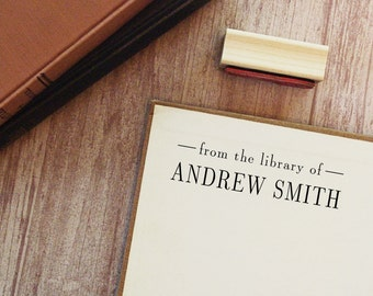 Library Stamp, Book Stamp - Style #20, Wood Mounted or Self-Inking Stamp, Gifts for Book Lovers, From the Library of, Ex Libris Stamp