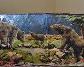 Vintage Textle Art-Vintage Brown Bear Maruzzella & Company Wall Tapestry-Log Cabin Rug--Mountain Lodge Textile Hanging-Woodland Bears -60s