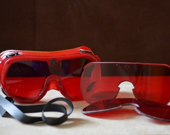 Red Goggles-Vintage Marine  Steampunk Style Goggles--Red Plastic Interchangeable Eye Piece Goggles--Snow Goggles-Gift for Men--80s