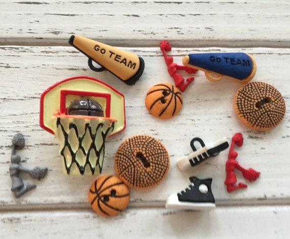 """Basketball Buttons, Packaged Novelty Buttons,  """"Hoop It Up"""" Style #4064 by Buttons Galore, Net, Ball Cheerleader Shoes, Sewing, Crafts"""