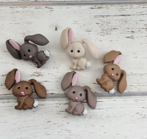"Bunny Rabbit Buttons, Packaged Novelty Buttons ""Hop Hop"" by Dress It Up Jesse James, Assortment Pack, Embellishments, Shank Back Buttons"