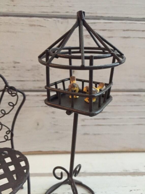 Miniature Wire Garden Bird Feeder With Birds by Reutter, Dollhouse Miniatures, 1:12 Scale, Dollhouse Miniature Garden Decor, Accessory