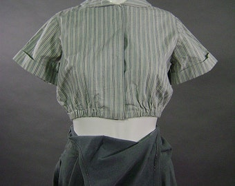 Vintage 1900s Blouse, Edwardian Style, Reproduction, Factory Uniform Top, Round Collar, Elastic Waist, Blue White, Ticking Stripe, B 32""