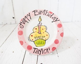 Happy Birthday Cupcake Plate - Personalized - Pink
