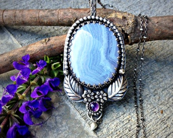 Garden Witch - A Blue Lace Agate Sterling Silver Handcrafted Necklace with Amethyst - Nature - Flower - Leaves - Pendant - Boho - Witchy