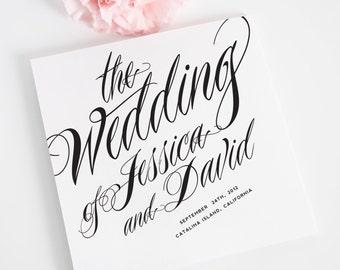 Ravishing Script Tri Fold Wedding Programs Deposit in Black and White on Pearl Shimmer Luxury Cardstock