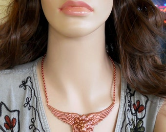 Winged Lion Necklace Carnelian Mythical Fantasy Victorian Style Steampunk Copper Plated Brass Solid Copper Chain N0640