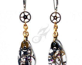 Industrial STEAMPUNK Earrings Gearrings Cold Connected Resin Teardrops w/ Gears & Watch Bits on Sterling Silver Leverback Earwires E0859
