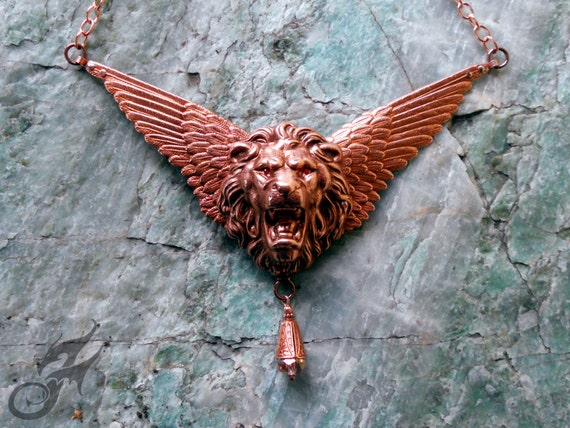 Winged Lion Necklace Swarovski Eyes Mythical Fantasy Victorian Style Steampunk Copper Plated Brass Solid Copper Chain Topaz Crystal N0631