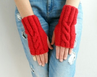 Fingerless Gloves, Winter Accessories, Red Gloves, Cable Knitted Fingerless Gloves