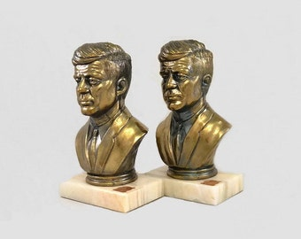 Vintage Bookends President John F Kennedy Cast Metal and Onyx