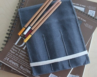 Custom sketchbook refillable waxed canvas cover with pencil pocket (small sizes) // Art portfolio // Travel art portfolio
