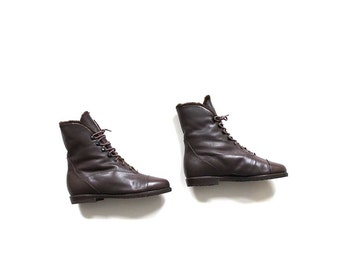 Vintage Ankle Boots 5.5 / Lace Up Boots / Brown Leather Ankle Boots / Fur Lined Boots