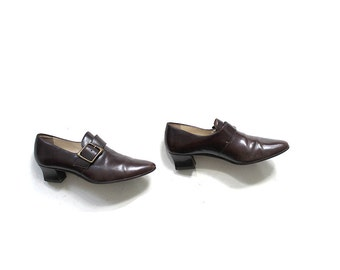 Vintage Leather Booties 8 / Monk Strap Loafers / Leather Oxfords / Buckle Boots