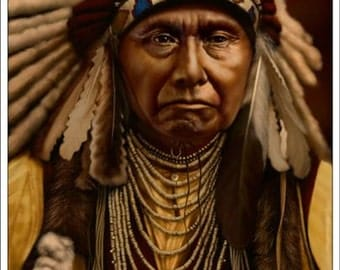 Native American with headdress image for framing.
