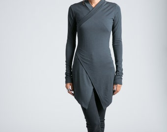 Asymmetric Tunic / Long Tunic / Fitted Top / Casual Shirt / Long Sleeve Blouse / Wrap Top / Long Top / marcellamoda - MB723