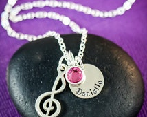 SALE - Music Teacher Necklace - Music Note - Treble Clef Jewelry -Music Jewelry -Personalized Name Necklace -Custom Music Gift -Musical Gift
