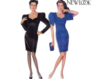 New Look 6635 Womens Sweetheart Neck Tulip Sleeve Bridesmaid Evening Formal Dress 80s Vintage Sewing Pattern Size 6 - 16 UNCUT Factory Folds