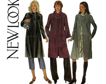 Easy Womens Winter Coat Jacket Scarf Pattern New Look 6020 Sewing Pattern Sizes 6 - 24 Bust  30 - 46 inches UNCUT Factory Folded
