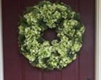 "Silk Hydrangea Wreath 24"""