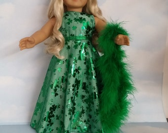 18 inch doll clothes - #275 Green St Patricks Gown handmade to fit the American Girl Doll - FREE SHIPPING
