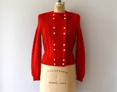 Vintage 1950s Sweater - 50s Red Knit Wool Cardigan Sweater