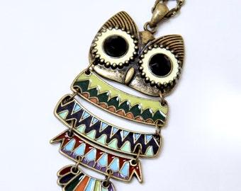 Large Owl Pendant Necklace, Colorful Owl Necklace, Hoot Owl Bird Necklace, Woodland Owl Necklace, Boho Bohemian Necklace, Antique Bronze