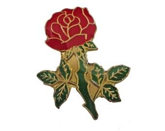 A SINGLE ROSE lapel vintage enamel pin Flower brooch 1980s