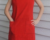 Red Corduroy Jumper Dress Mod Casual Vintage 60s S