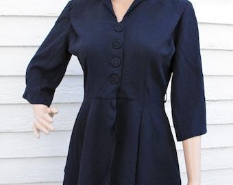 Vintage 40s Blue Dress Suit Peplum Jacket Skirt Set 1940s L M