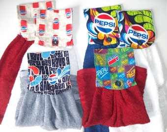 Pepsi Cola Fabric Topped,Single T-Towels,Your Choice,Kitchen or Bathroom Towels,Your Choise: Pepsi Squares,Pepsi Modern,Have a Pepsi Day