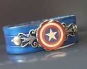American Hero handmade blue leather bracelet, geeky cosplay, Star-spangled #teamcap