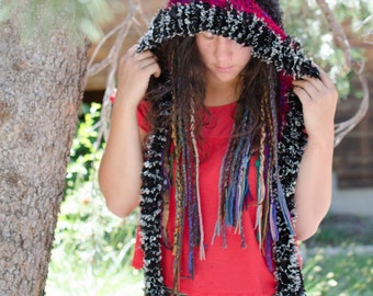 Crochet Rave Spirit Hood with Recycled Nepali Silk and Art Yarn