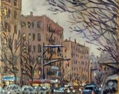 Twilight on Broadway, Inwood NYC. 10x8 inch Oil on Canvas, Impressionist Plein Air New York City Fine Art, Signed Original Oil Painting