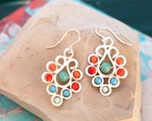 Flourish Earrings Turquoise and Coral