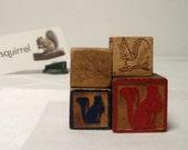 Squirrels 4 Old Alphabet Blocks Wood ABC Toy Blocks