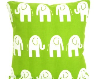 Green White Elephant Pillow Cover, Decorative Throw Pillows, Cushions, Lime Green White Elephant Nursery Pillows Bed Sofa Pillows All Sizes