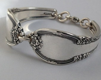 Spoon Bracelet. Remembrance 1948 Wrist Size 6 to 9. Choose Your Size Vintage Silverplate. Spoon Rings.