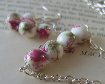 Rustic, Romantic, pink and white, necklace and earrings set,porcelain, ceramic, by NewellsJewels on etsy