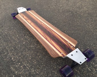 Longboard Solid Exotic Wood with Drop Plates - Makena